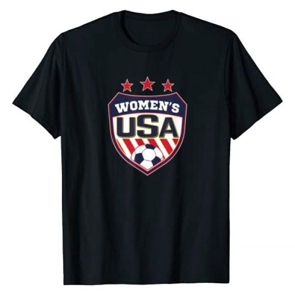 Soccer T-Shirt for Girls Graphic Tshirt 1 Soccer T-Shirt for Women with USA Shield - Soccer Girl