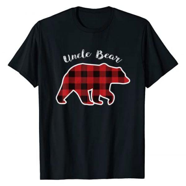 Matching Christmas Family Buffalo Gingham Shirt Graphic Tshirt 1 UNCLE BEAR   Men Red Plaid Christmas Pajama Family Gift T-Shirt