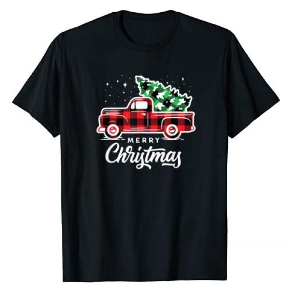 Buffalo Plaid Christmas Shirts Graphic Tshirt 1 Vintage Style Farm Red Truck with Christmas Tree T-Shirt