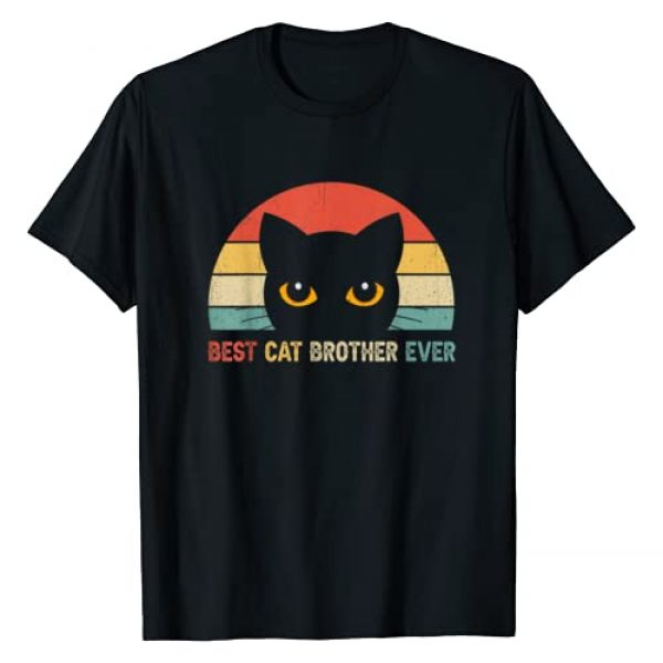 Vintage Retro Cat Lovers T-Shirt Fathers Day Gifts Graphic Tshirt 1 Vintage Best Cat Brother Ever Shirt Cat Lovers Gift T-Shirt