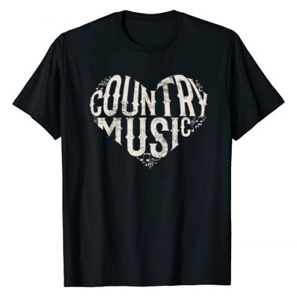 Love Heart Country Music Gift Idea Graphic Tshirt 1 I Love Country Design Country Music Lover Gift Idea T-Shirt