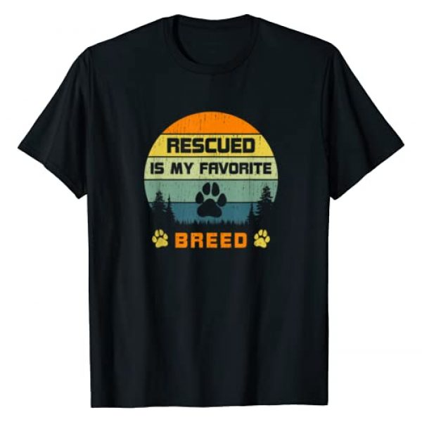 Lucky Dogs Cute Animal Rescue Shirts Retro Vintage Graphic Tshirt 1 Love Dogs Rescue Rescued Is My Favorite Breed Vintage Paw T-Shirt