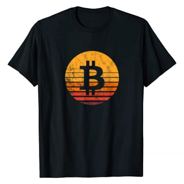 Bitcoin, Cryptocurrency & Blockchain Apparel Graphic Tshirt 1 Bitcoin Vintage Sunset T-Shirt
