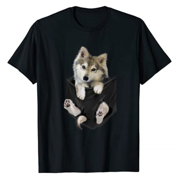 Wolf Craze Tees Graphic Tshirt 1 Wolf White Pup in Pocket T-Shirt Wolves Tee Shirt Gifts