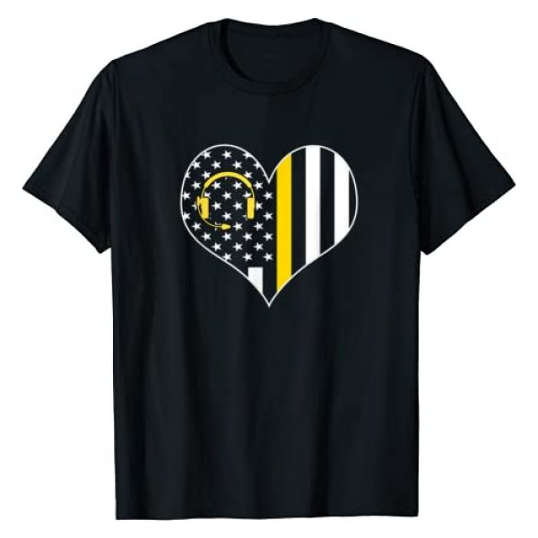 911 Dispatcher Police Gifts Graphic Tshirt 1 911 Dispatcher Gold Line USA Flag Emergency Dispatchers Gift T-Shirt