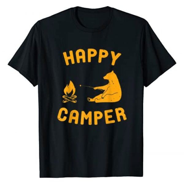 ProNomad Camping Graphic Tshirt 1 Funny Happy Camper Tee Shirt with Bear and Bonfire T-Shirt