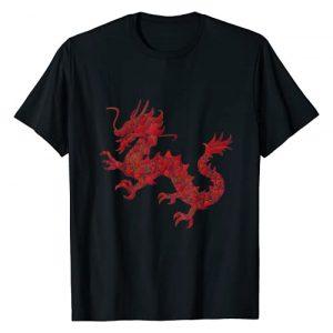 Dragon Graphic Tshirt 1 Red Chinese Firedrake T-Shirt Dragon Print Art Wear