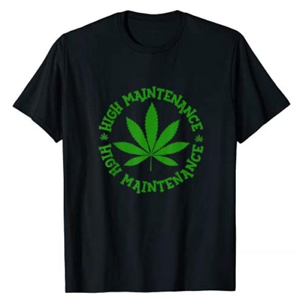 Puff & Pass Novelty Apparel Graphic Tshirt 1 High Maintenance Funny Marijuana Leaf Lover Weed Smoker T-Shirt