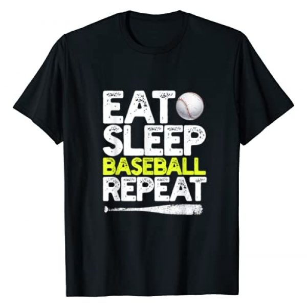Funny Baseball Gag Gifts for Baseball Lovers Graphic Tshirt 1 Eat Sleep Baseball Repeat Catcher Pitcher Baseball Kids Gift T-Shirt