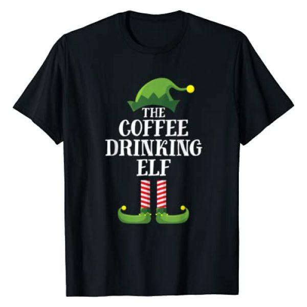 Elf Family Christmas Emporium Graphic Tshirt 1 Coffee Drinking Elf Matching Family Group Christmas Party PJ T-Shirt