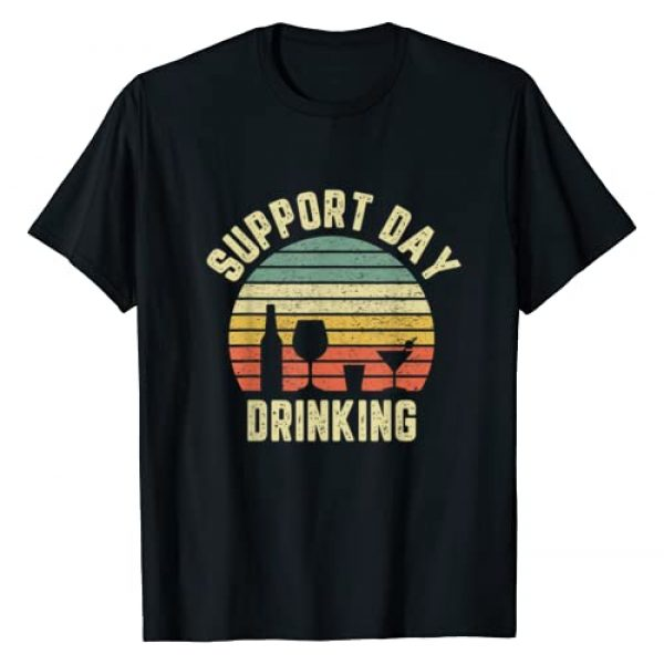 Support Day Drinking Apparel Graphic Tshirt 1 Vintage Support Day Drinking Shirt Retro Alcohol Gift T-Shirt