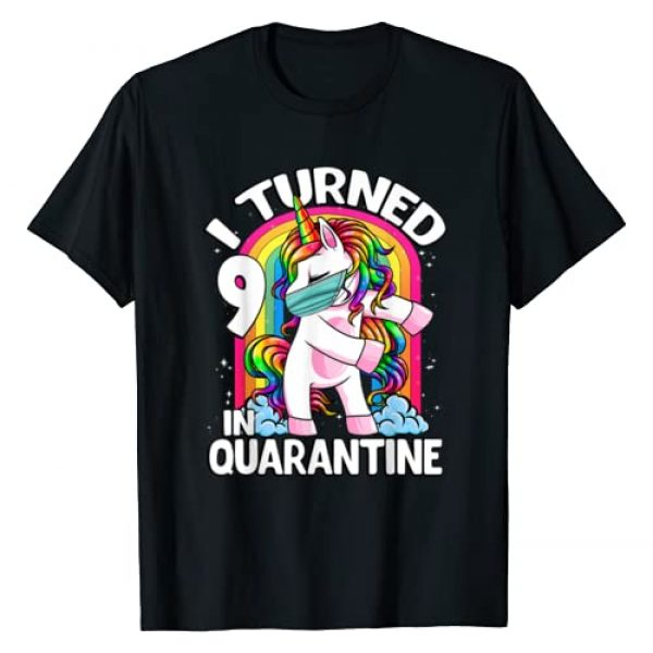 Unicorn Dabbing and Flossing CC Graphic Tshirt 1 I Turned 9 In Quarantine Flossing Unicorn 9th Birthday T-Shirt