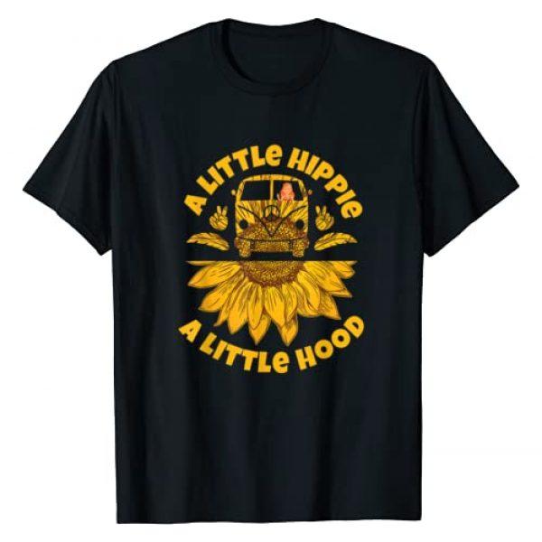 Hippies Sunflower Costume Travel Tee Graphic Tshirt 1 Hippies Sunflower Peace Vintage Retro Costume Hippy Gift T-Shirt