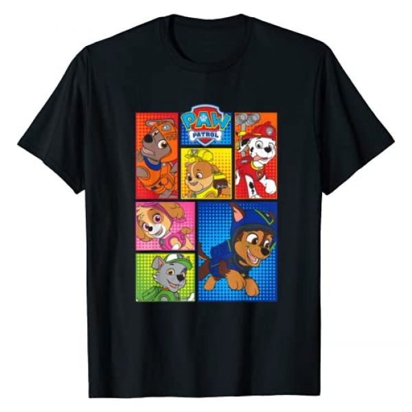 Paw Patrol Graphic Tshirt 1 Group Shot Of Pups In Shapes T-Shirt