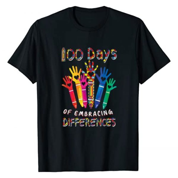 Happy 100th Day of School Teacher Student Apparel Graphic Tshirt 1 Autism Awareness Embrace Differences 100 Days Of School IEP T-Shirt