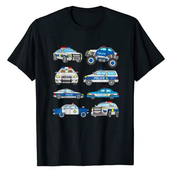 Cop Car Designs Graphic Tshirt 1 Police Vehicles for Kids Men Women Cop Cars Boys Toddler T-Shirt