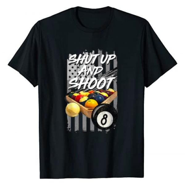 Vintage American Flag Pool Shirt Graphic Tshirt 1 Shut Up and Shoot T-Shirt Billiard 8 Ball Pool Player Tee T-Shirt