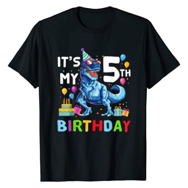 Happy Birthday Kids Dinosaur Lover Shirt Graphic Tshirt 1 Kids It's My 5th Birthday Happy 5 Year T-Rex Shirt T-Shirt