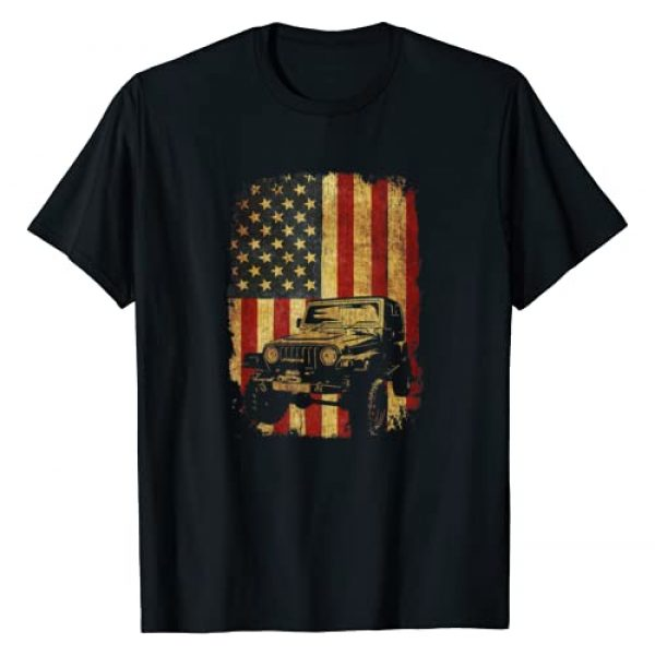 Off Road 4x4 Gift Tee Shirt for Men and Women Graphic Tshirt 1 Vintage US Flag 4x4 Tee - Off Road T-Shirt