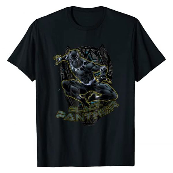 Marvel Graphic Tshirt 1 Black Panther Gold Trimmed Pounce Graphic T-Shirt