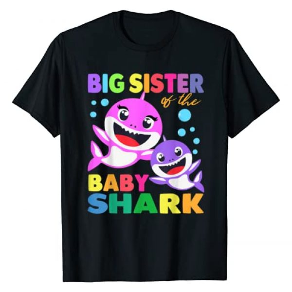 Funny Family Birthday Gifts Shark Shirts Graphic Tshirt 1 Big Sister Of The Baby Shark Birthday Big Sister Shark Shirt T-Shirt