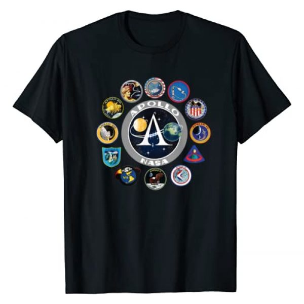 Space Geeks Graphic Tshirt 1 Apollo Missions Patch Badge, NASA Space Program T-Shirt