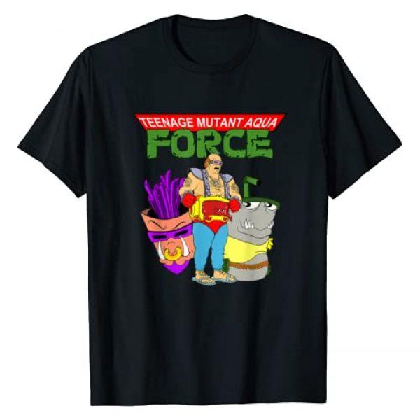Monster Mashups Graphic Tshirt 1 Teen Mutant Aqua Force Funny 80s Throwback T-Shirt