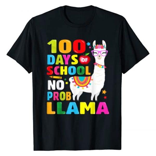 100 Days of School No probllama llama 100th Day Graphic Tshirt 1 100 Days of School Shirt No Probllama Llama 100th day T-Shirt