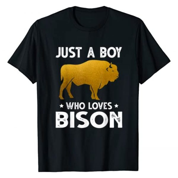 Funny Bison T-Shirt Birthday Gift Men Boys Graphic Tshirt 1 Just A Boy Who Loves Bison TShirt Cute Animals Lovers T-Shirt