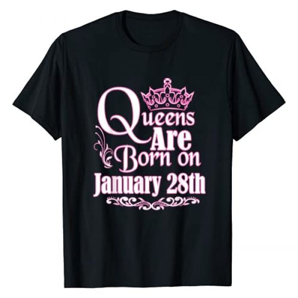 Birthday Queen Shirt Tee Kaboom! Graphic Tshirt 1 Queens Are Born January 28th Capricorn Aquarius Birthday T-Shirt
