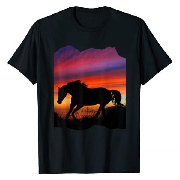 Silhouette Graphic Tshirt 1 Beautiful Arabian horse sunset silhouette orange purple blue T-Shirt