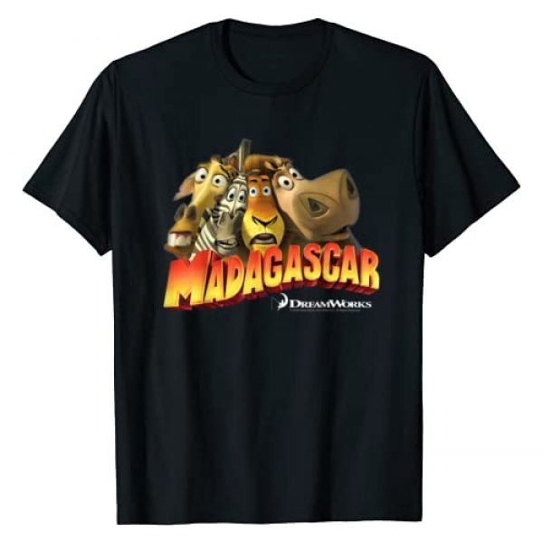 Madagascar Graphic Tshirt 1 Squished Group Shot Classic Movie Logo T-Shirt