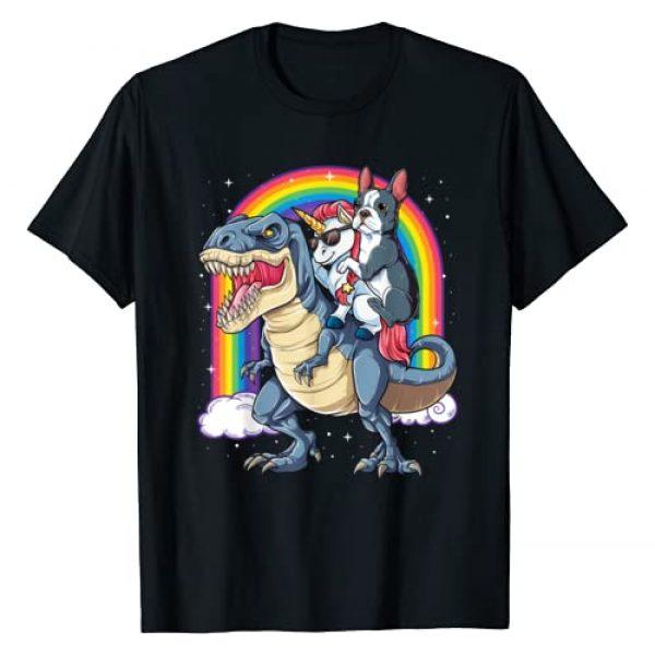 Boston Terrier DU Clothing Graphic Tshirt 1 Boston Terrier Unicorn Riding Dinosaur T rex Girls Rainbow T-Shirt