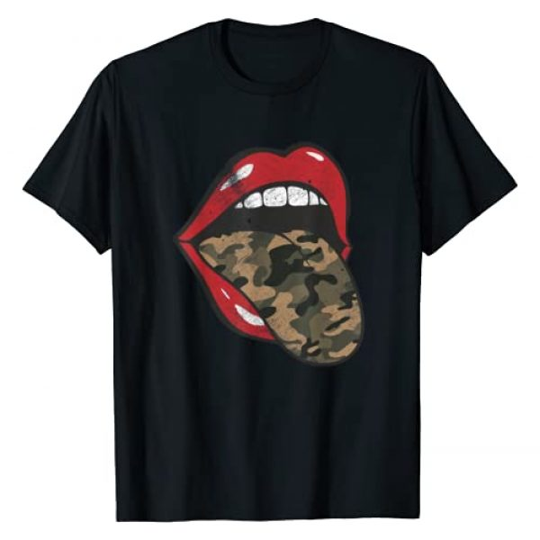 Camouflage Tongue Grunge Apparel Graphic Tshirt 1 Red Lips Camo Tongue Camouflage Military Trendy Grunge Funny T-Shirt