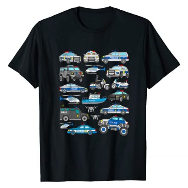 Police Shirts for Kids, Men and Women Graphic Tshirt 1 Police Car Shirt for Boys Cop Vehicles Toddler SWAT Truck T-Shirt