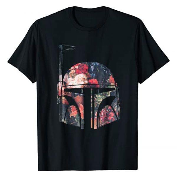 Star Wars Graphic Tshirt 1 Boba Fett Floral Print Helmet Graphic T-Shirt