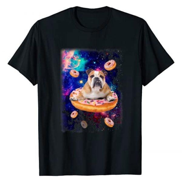 Bulldog in galaxy Tee Graphic Tshirt 1 Space Bulldog Riding Donuts in Galaxy Funny English Bulldog T-Shirt