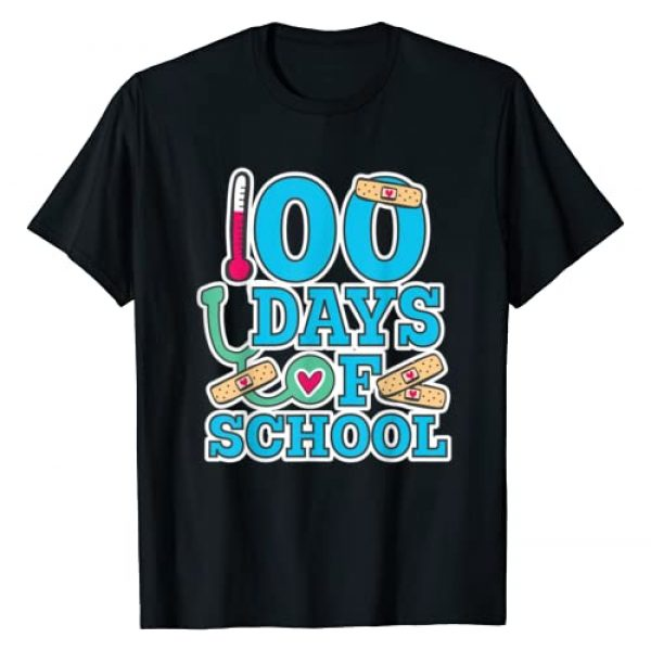 Happy 100th Day of School for Nurses Graphic Tshirt 1 School Nurse 100 Days of School T-Shirt
