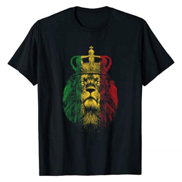Rastafarian Lion Shirts Graphic Tshirt 1 Rasta Lion of Judah Rastafarian Reggae Ethiopian Lion Gift T-Shirt