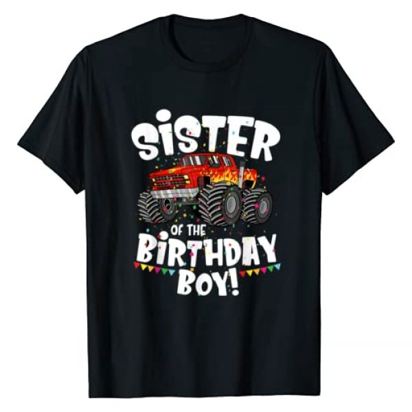 Cute Four Wheel Family Matching B-day Themed Party Graphic Tshirt 1 Funny Monster Truck Sister Of The Birthday Boy Gift For Her T-Shirt