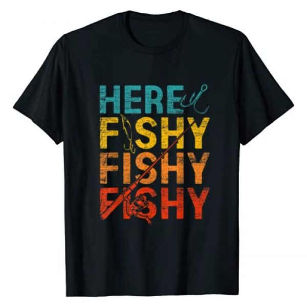 Angler T-Shirts Fishing Tank Tops Graphic Tshirt 1 Here Fishy Fishy Fishy T-Shirt