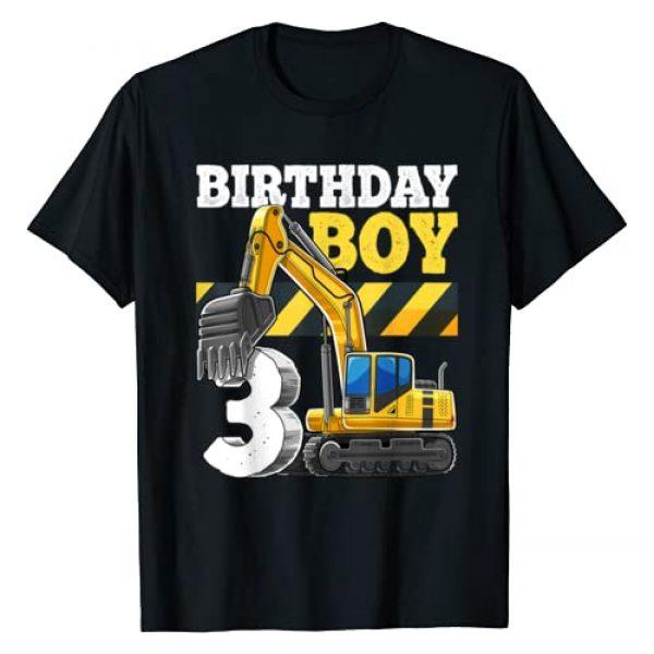 Construction Vehicle Birthday Party Shirts Graphic Tshirt 1 Birthday Boy 3rd Birthday Excavator Construction Vehicle T-Shirt