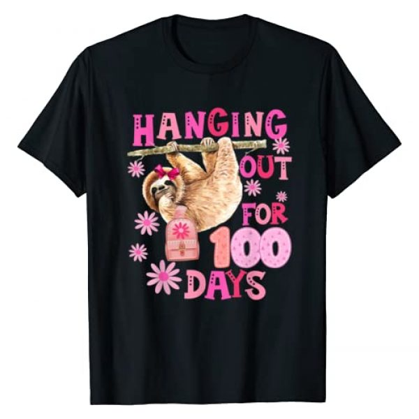 100 Days Of School Girls Cute Gift Graphic Tshirt 1 Sloth Hanging Out For 100 Days Of School Kids Girls Gift T-Shirt