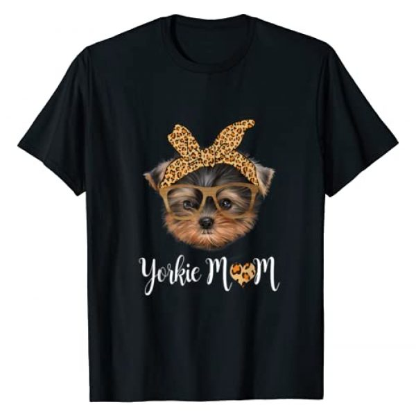 Mothers Day Gift Dog Lover Shirt Graphic Tshirt 1 Yorkie Mom Leopard Print Dog Lovers Mother Day Gift T-Shirt