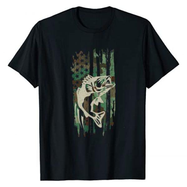 Fishing Gift Tee Shirts Apparel Co Graphic Tshirt 1 Camouflage American Flag Bass Fishing Gift T Shirt Tshirt T-Shirt