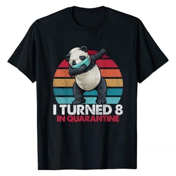 Dabbing Panda Vintage Birthday Shirts By Hannah Graphic Tshirt 1 I Turned 8 In Quarantine Dabbing Panda 8th Birthday Kids T-Shirt
