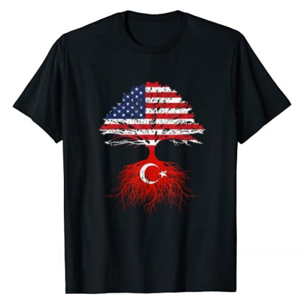 Turkish Roots USA Raised Apparel Co. Graphic Tshirt 1 Turkey Roots Turkish American USA Flags Naturalization Gift T-Shirt