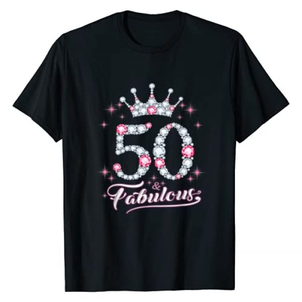 Pink Crown 50th Birthday Gift Tee For Womens Graphic Tshirt 1 50 And & Fabulous 1969 50Th Birthday Gift Tee For Womens T-Shirt