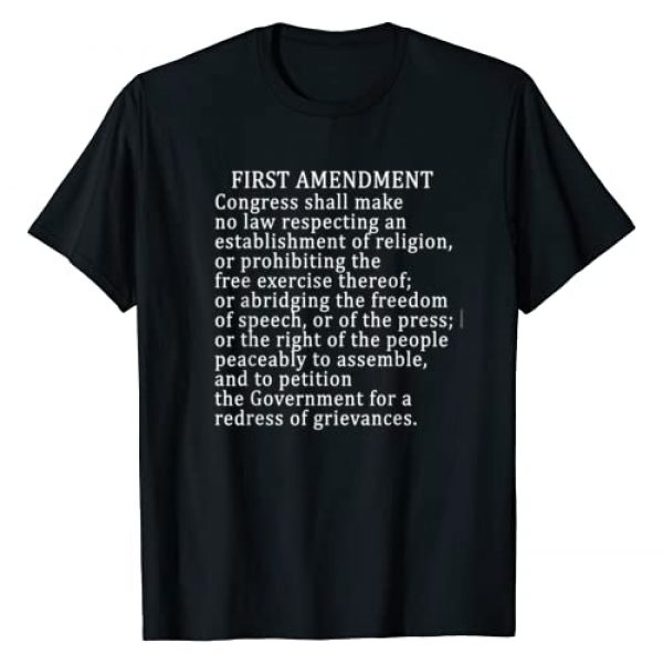 US Constitution Tshirts BY SCAREBABY Graphic Tshirt 1 1st AMENDMENT T-SHIRT FREE PRESS Bill of Rights