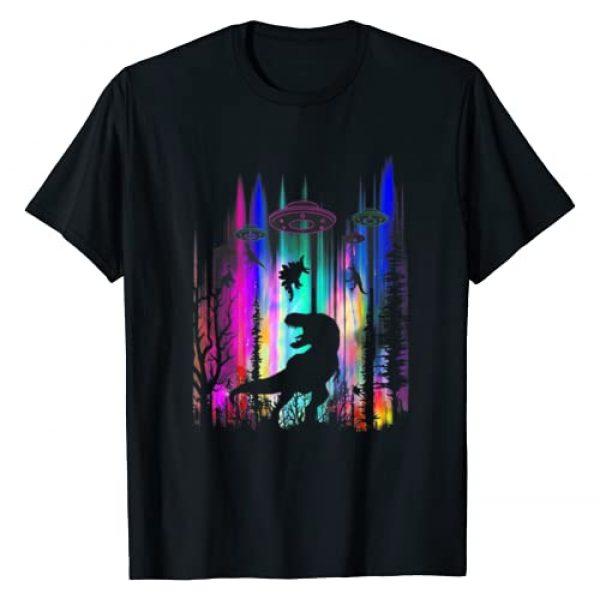 Trending Gift Graphic Tshirt 1 Funny Alien UFO T-Rex Abduction Colorful Forest T-Shirt